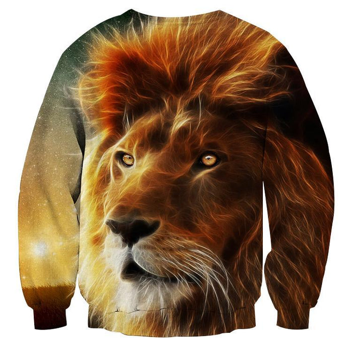 Creative Design Fantasy Artwork Lion Full Print Sweatshirt - Superheroes Gears