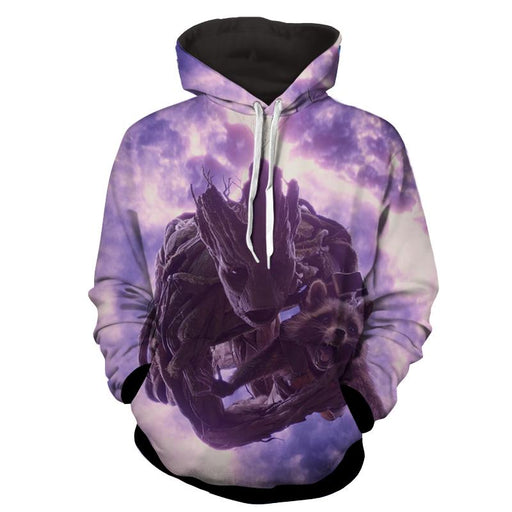 Guardians of the Galaxy Groot Rocket Space Flying Design Hoodie - Superheroes Gears