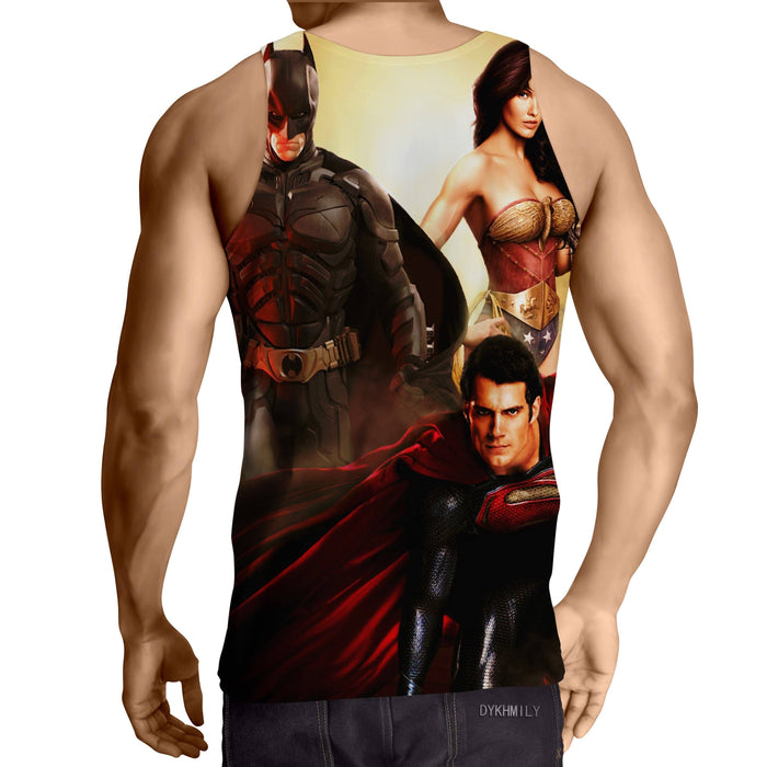 Justice League Perfect Trinity Dope Design Full Print Tank Top - Superheroes Gears