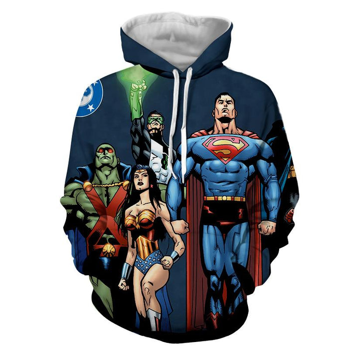 Justice League Superheroes Team Up Full Print Hoodie - Superheroes Gears