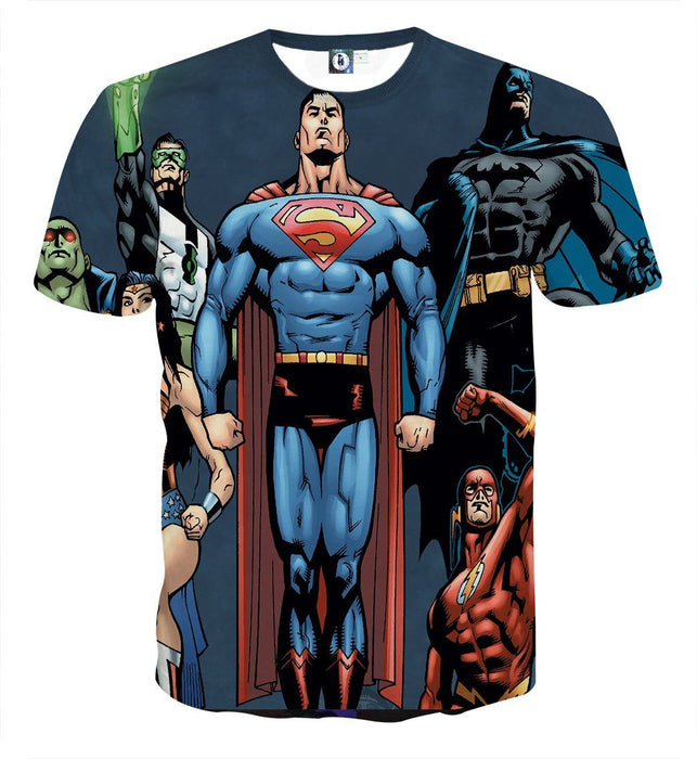Justice League Superheroes Team Up Full Print T-Shirt - Superheroes Gears