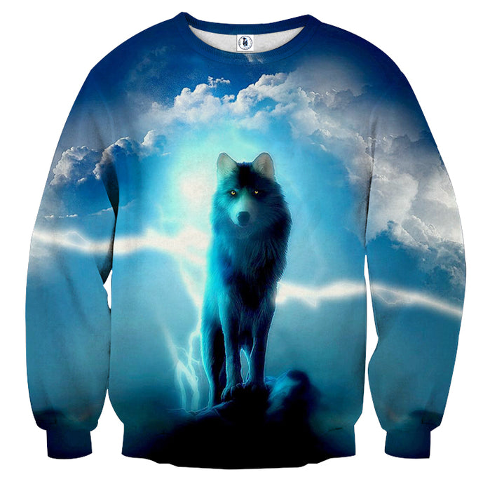 Glowing Fierce Wolf Cloudy Place Blue Fashionable Sweatshirt