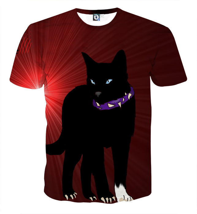 Black Scourge Cat With Red Light Art Design T-Shirt - Superheroes Gears