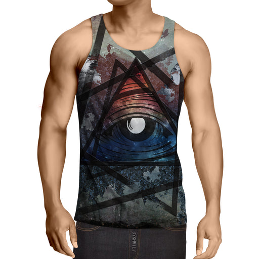 Witch Eye In Triangle Bird Wings Forest Art Design Tank Top