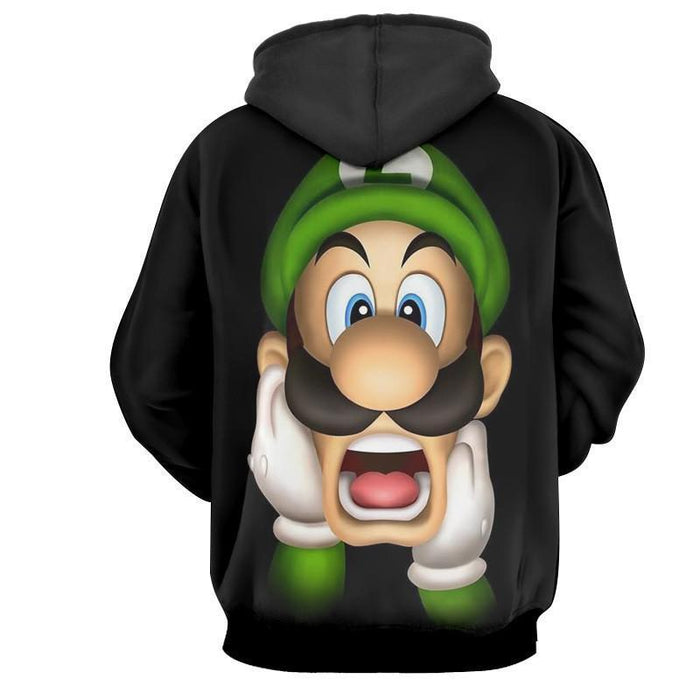 Super Mario Bros Luigi Frighten Funny Gaming Design Hoodie