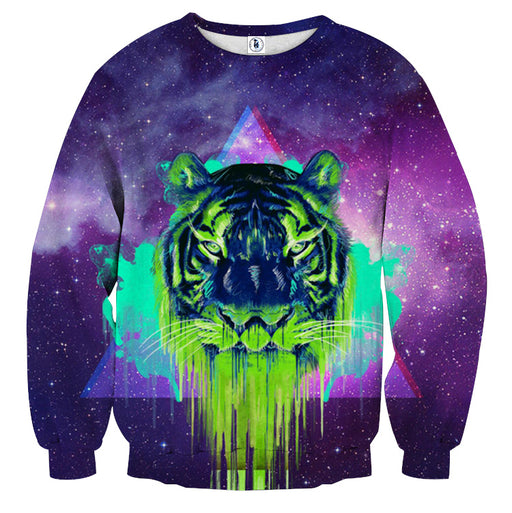 Powerful Tiger Painting Face Galaxy Art Design Sweatshirt