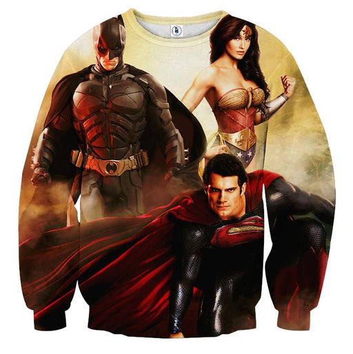 Justice League Perfect Trinity Dope Design Full Print Sweatshirt - Superheroes Gears