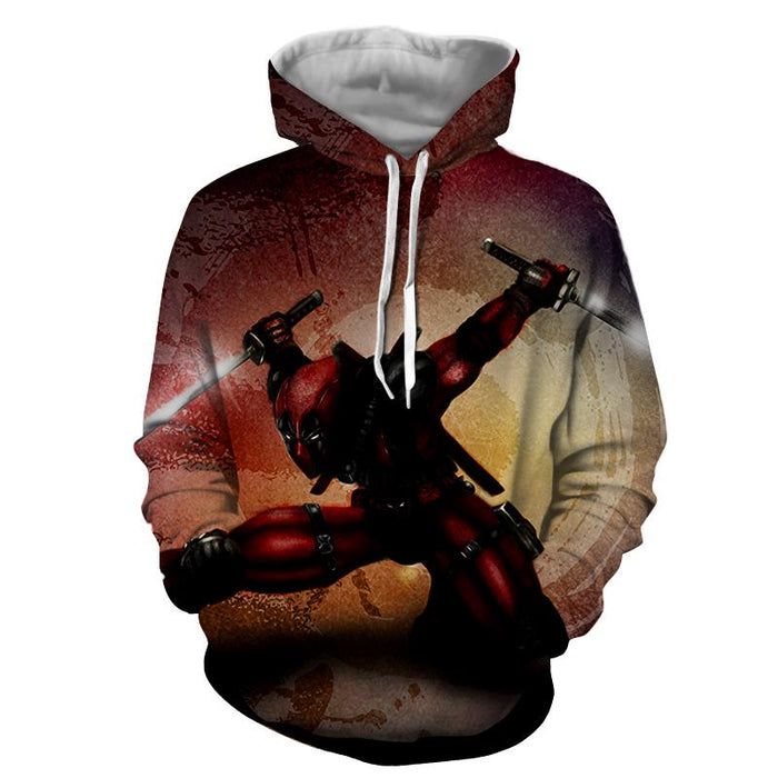 Serious Deadpool Dual Blades Fighting Fashionable Print Hoodie - Superheroes Gears