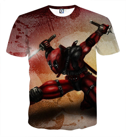 Serious Deadpool Dual Blades Fighting Fashionable Print T-shirt