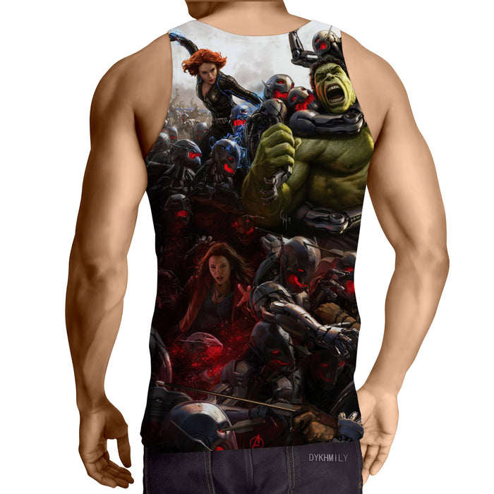 Marvel The Avengers Fighting Ultron Full Print Tank Top