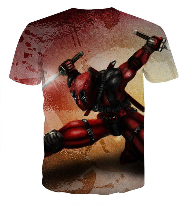 Serious Deadpool Dual Blades Fighting Fashionable Print T-shirt - Superheroes Gears