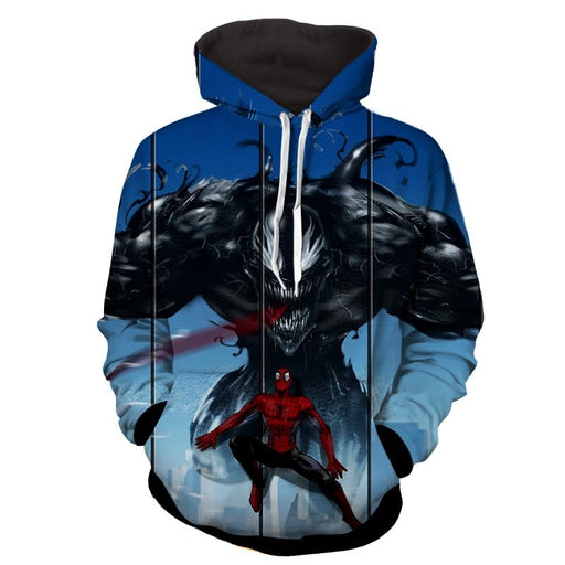 Spiderman Venom Marvel Comic Print Hoodie
