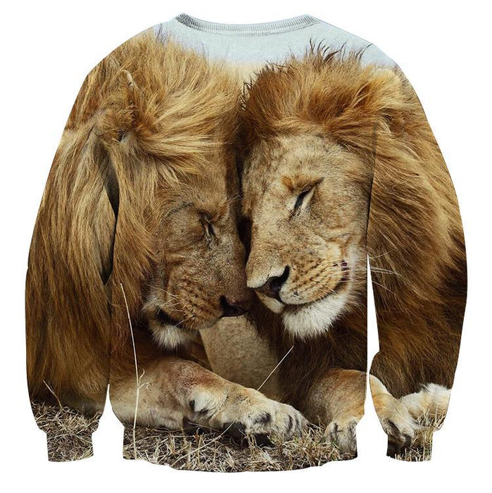 Couple Lion Romantic Theme Full Print Animal Trending Sweatshirt - Superheroes Gears