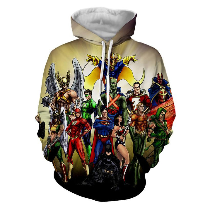 Justice League DC Superheroes All Characters Cool Hoodie - Superheroes Gears