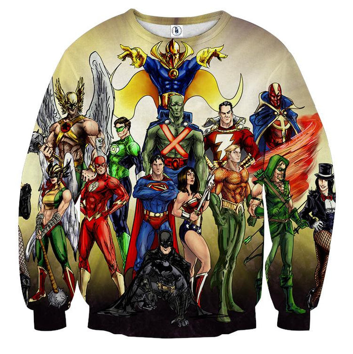 Justice League DC Superheroes All Characters Cozy Sweatshirt - Superheroes Gears