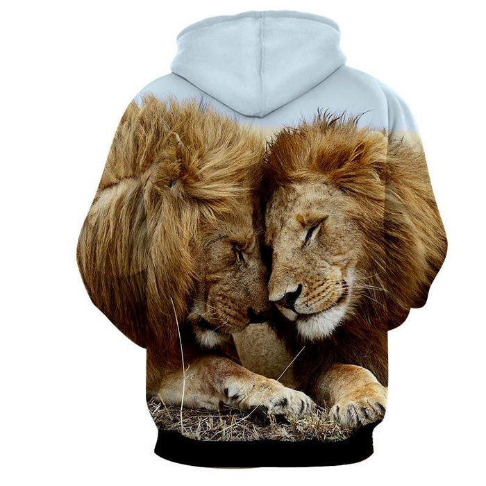 Couple Lion Romantic Theme Full Print Animal Trending Hoodie - Superheroes Gears