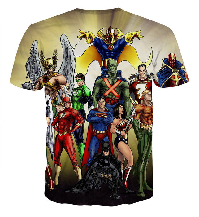 Justice League DC Superheroes Characters Full Print T-Shirt