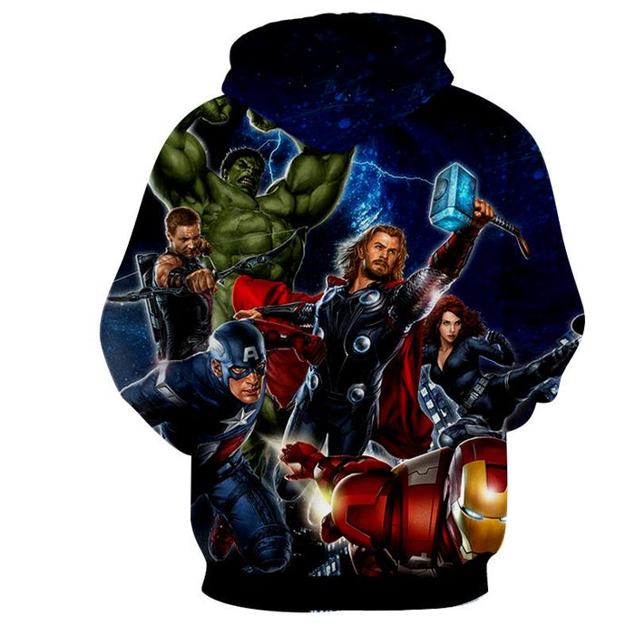 Marvel The Avengers Main Characters Flying Swag Print Hoodie