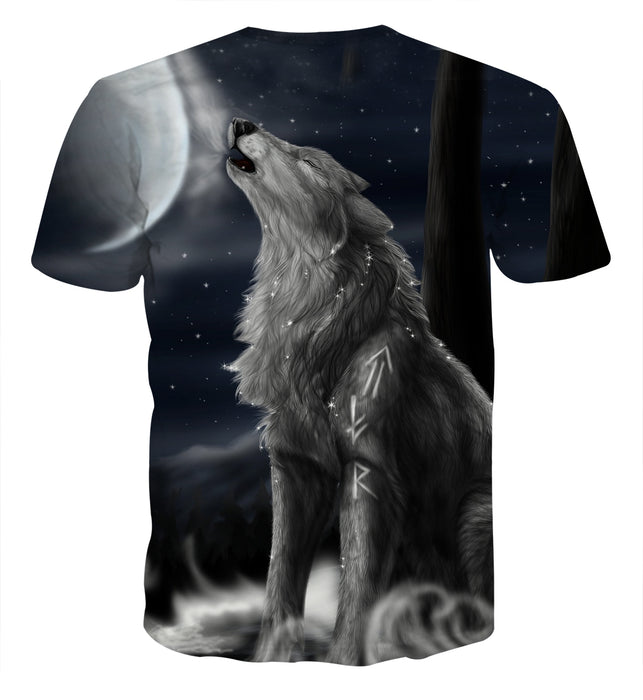 Roaring Lonely Wolf Starry Night Sky Stylish Design T-Shirt