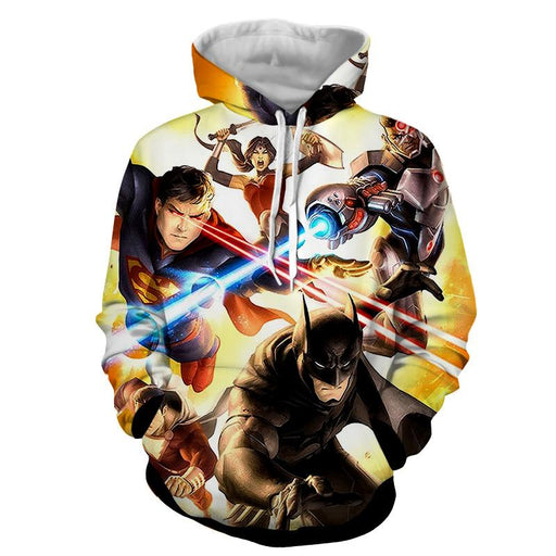 Justice League Super Power Heroes Cool Art Printing Hoodie - Superheroes Gears