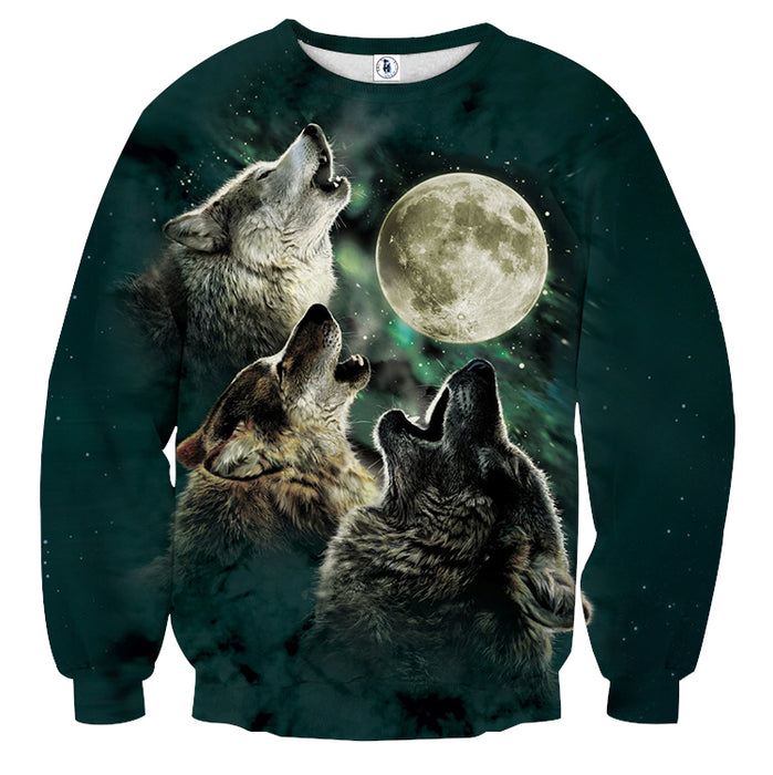 Mysterious Wolves Howling To The Moon Starry Sky Sweatshirt