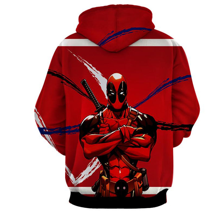 Deadpool Folding His Arms Dope Style Full Print Red Hoodie - Superheroes Gears