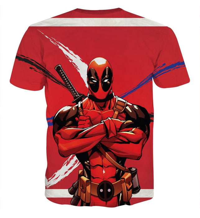 Deadpool Folding His Arms Dope Style Full Print Red T-shirts - Superheroes Gears