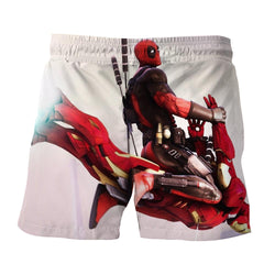 Funny Deadpool Riding Iron Man Meme Style 3D Print Short