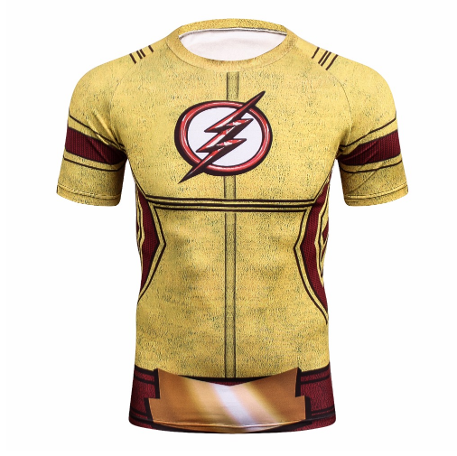 DC The Flash Inspired Design Costume Compression Workout Fitness T-shirt
