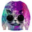 Cool Cat Wearing Black Glasses Purple Color Sweatshirt - Superheroes Gears