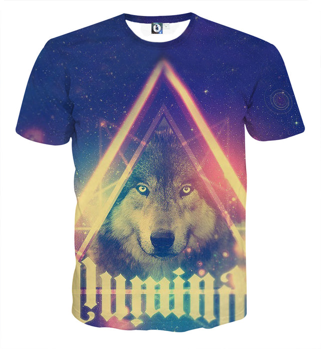 Cold Wolf Triangle Lighten Galaxy Graphic Design T-Shirt - Superheroes Gears