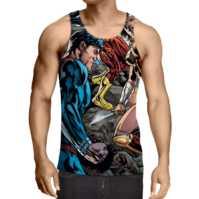 Justice League Comic Superman Dope Stand 3D Printed Tank Top - Superheroes Gears