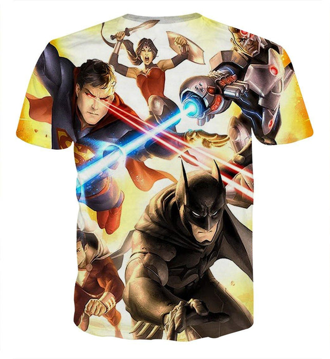 Justice League Super Power Heroes Cool Art Printing T-Shirt - Superheroes Gears