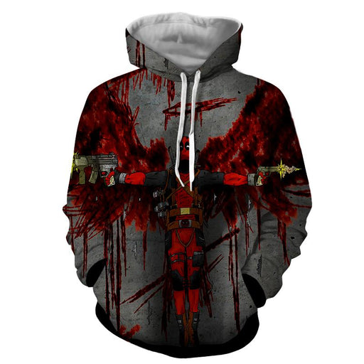 Deadpool Guns Holding Bloody Wings Dope Design Print Hoodie - Superheroes Gears