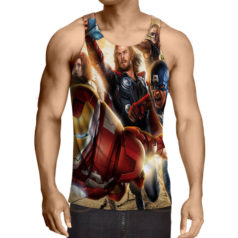 Marvel The Avengers Main Superheroes Fighting Swag Tank Top