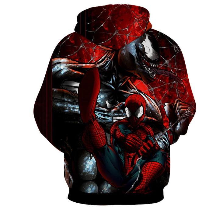 Spiderman Venom Web Villain Fight Print Hoodie