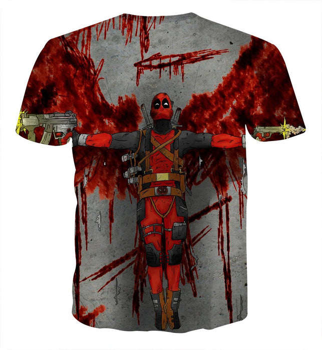 Deadpool Guns Holding Bloody Wings Dope Design Print T-shirt - Superheroes Gears
