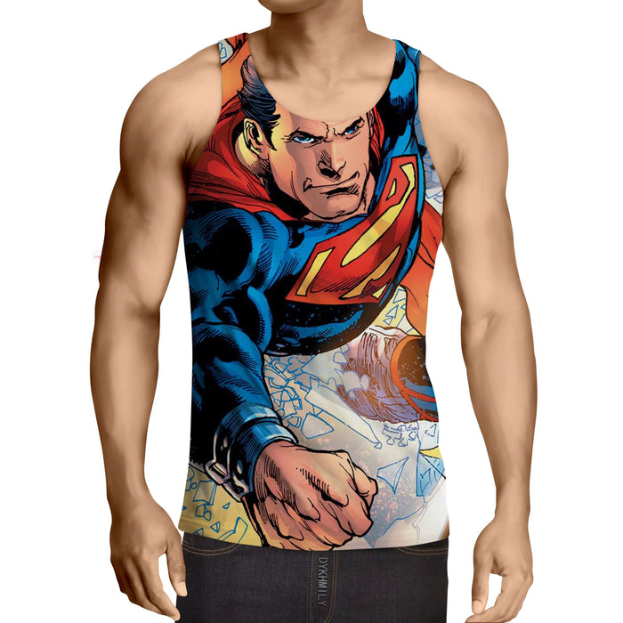 Justice League Powerful Superman Comic Art Print Tank Top - Superheroes Gears