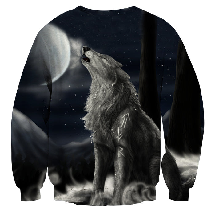 Roaring Lonely Wolf Starry Night Sky Stylish Sweatshirt