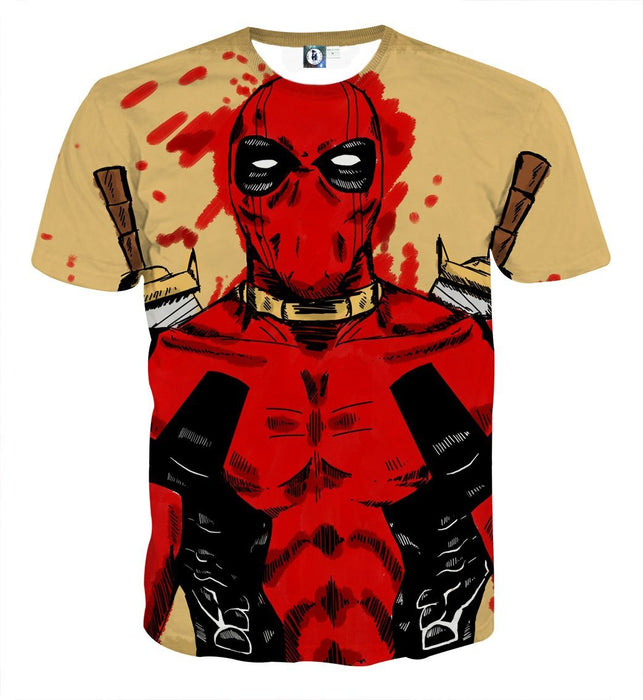 Deadpool Watercolour Painting Portrait Vibrant Swag T-shirt - Superheroes Gears