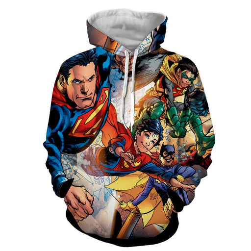Justice League Powerful Superman Comic Art Print Hoodie - Superheroes Gears
