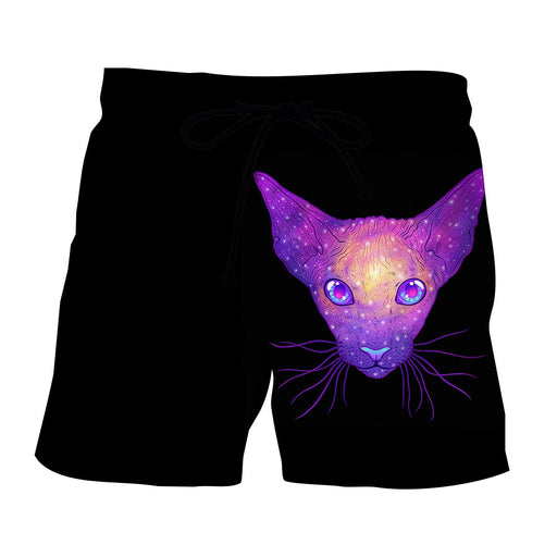 Cat Avatar Cold Fantastic Face Portrait Art Design Shorts - Superheroes Gears