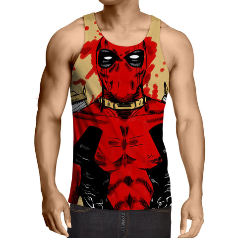 Deadpool Watercolour Painting Portrait Vibrant Swag Tank Top