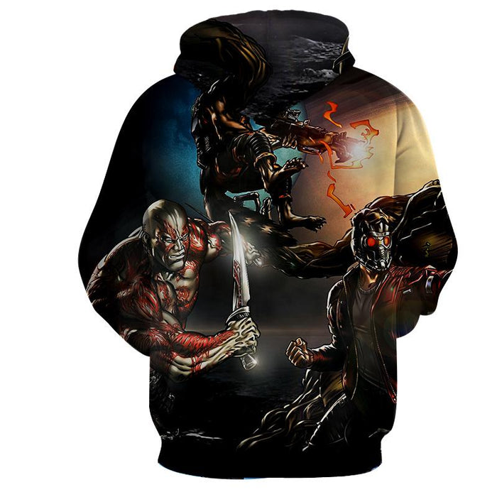 Guardians of the Galaxy Cartoon Theme Team Battle Dope Hoodie - Superheroes Gears