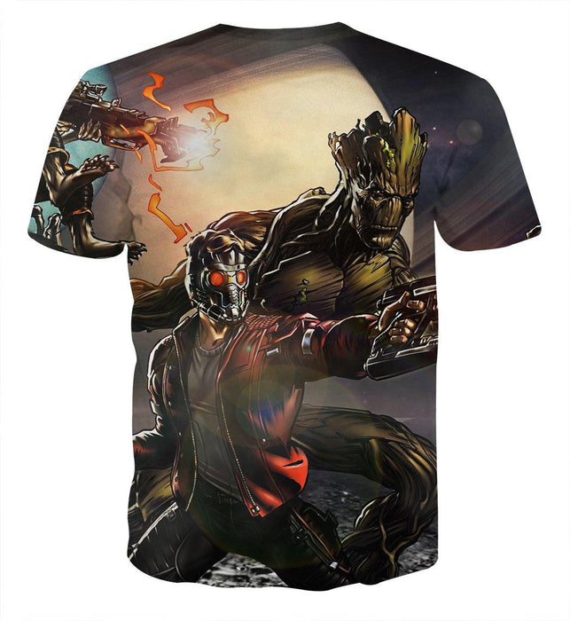 Guardians of the Galaxy Cartoon Theme Team Battle Dope T-shirt - Superheroes Gears