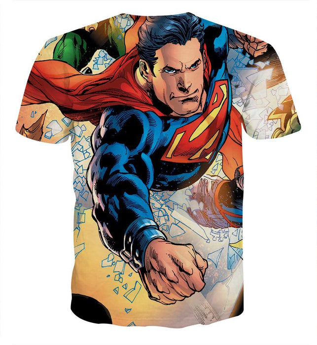 Justice League Powerful Superman Comic Art Print T-Shirt - Superheroes Gears