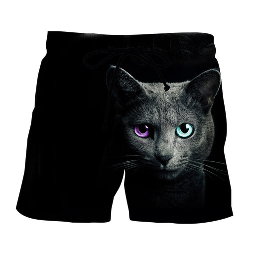Fantastic Purple And Blue Eyes Black Cat Design Shorts