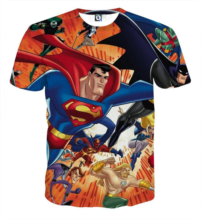 Justice League DC Awesome Superheroes Team 3D Printed T-shirt