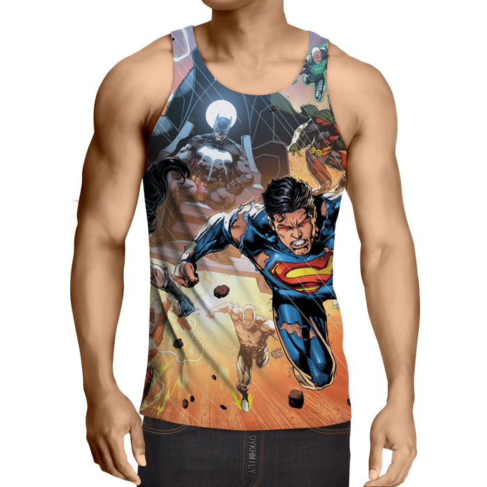 Justice League Heroes Fighting Dope Design 3D Print Tank Top - Superheroes Gears