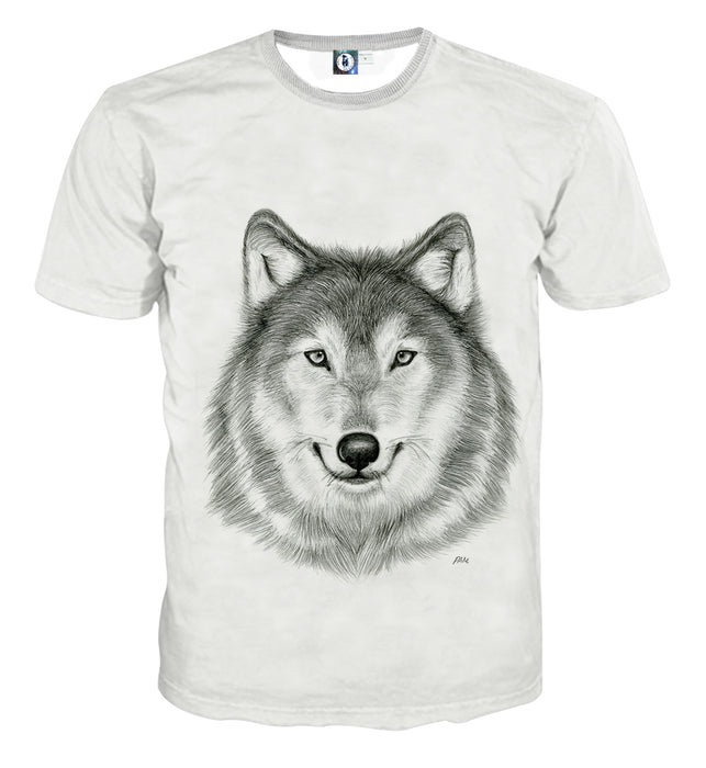 Realistic Wolf Calm Look Drawing Style Artistic T-Shirt